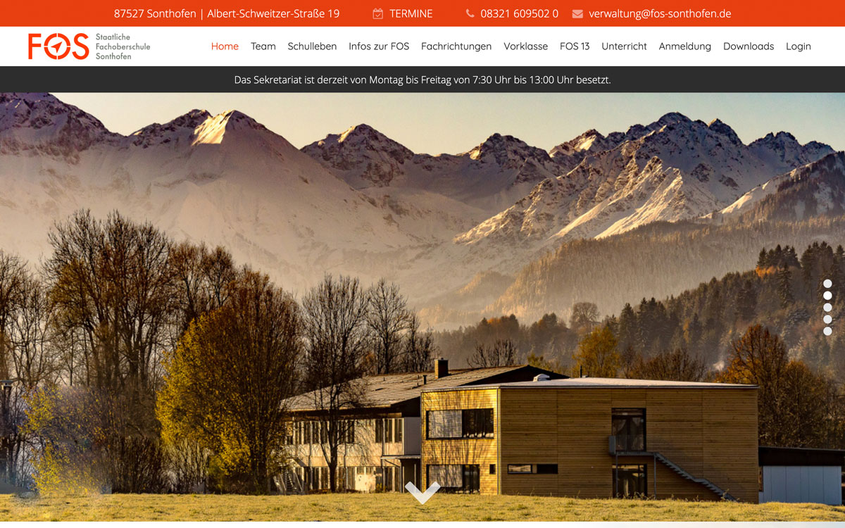Screenshot von Fachoberschule Sonthofen, Referenz von Webface