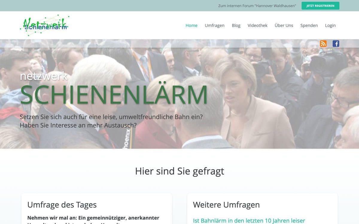 Screenshot von Netzwerk Schienenlärm, Referenz von Webface