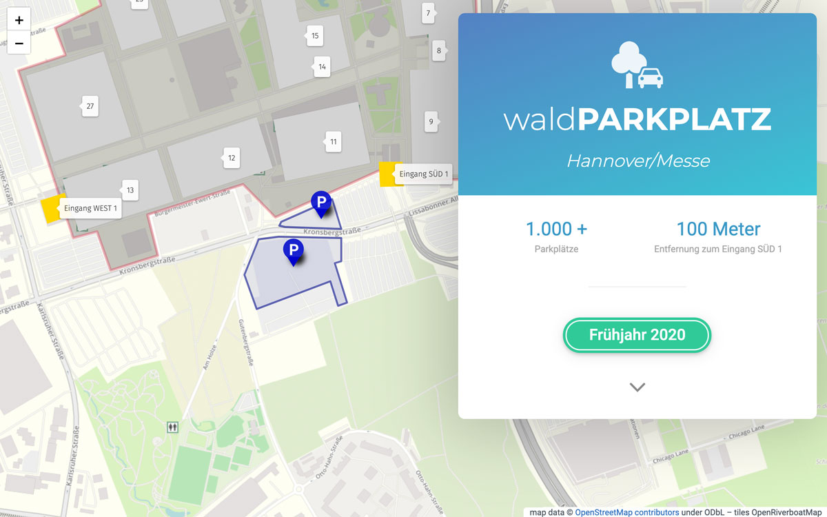 Screenshot von Waldparkplatz Hannover, Referenz von Webface